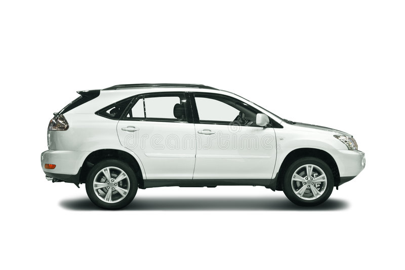 White car. White SUV isolated on white stock image