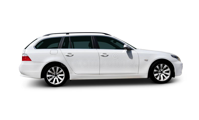 White car BMW 5 Series. White BMW 5 Series family touring car side view with realistic shadows - includes separate clipping paths for windows, car body, wheels royalty free stock photo