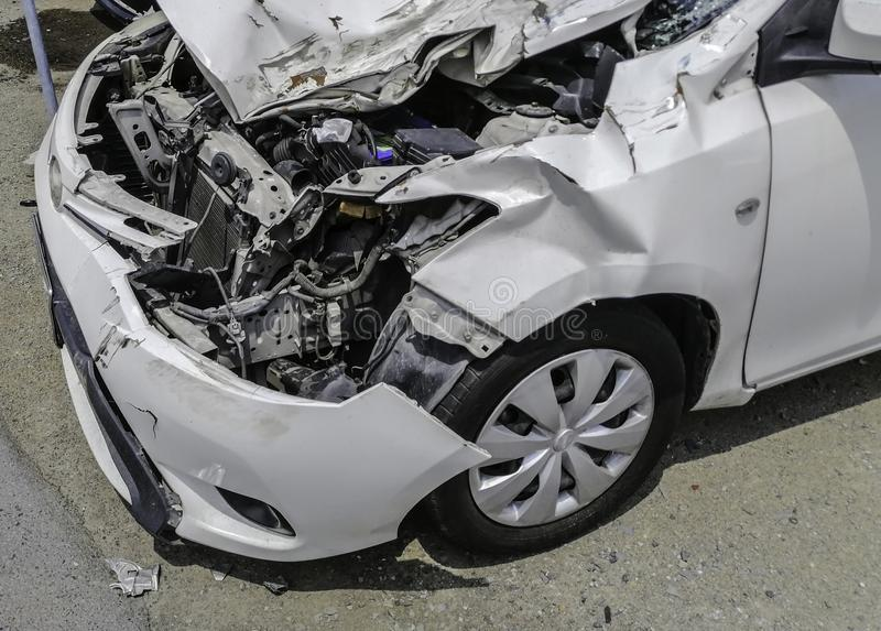 White car crash after accident And the engine condition inside t stock image