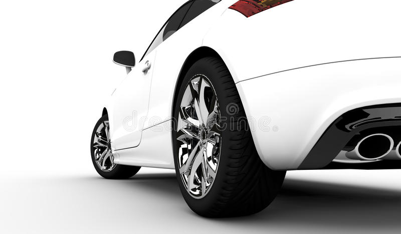 White car. 3D rendering of a white car on a clean background royalty free illustration