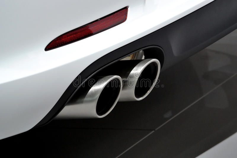 Download White car exhaust pipe stock image. Image of dual, circulation - 33599835