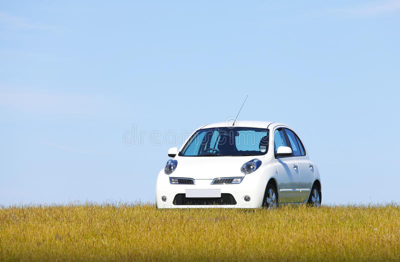 Download White car on a hill stock image. Image of hilltop, electric - 32159551