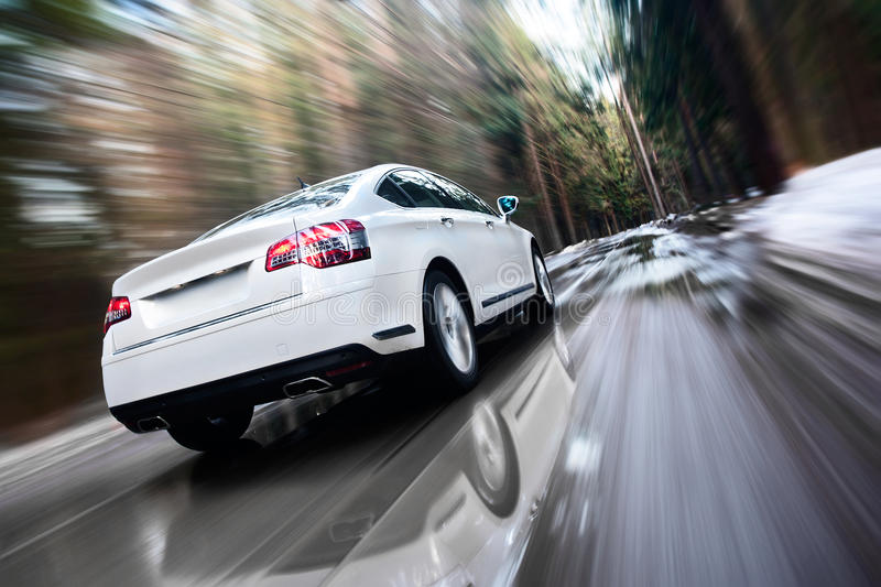 Fast Moving Car Stock Image. Image Of Green, Over