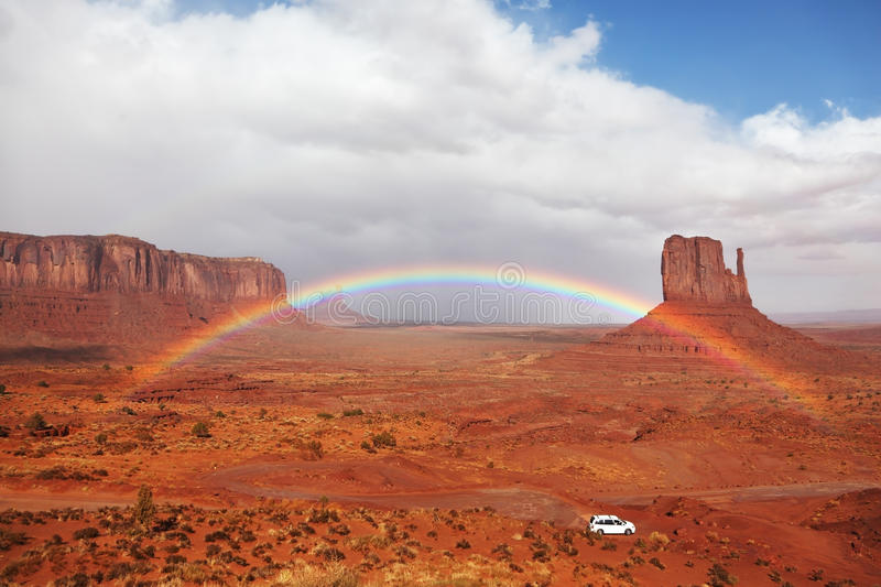 Download A White Car Under A Rainbow Stock Image - Image: 15501453