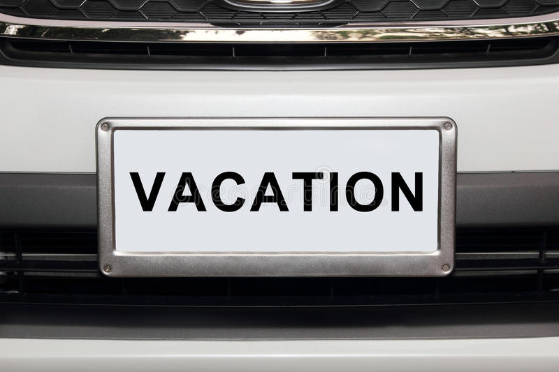 Download White Car  With Vacation White Number Plate Stock Photo - Image: 30490516