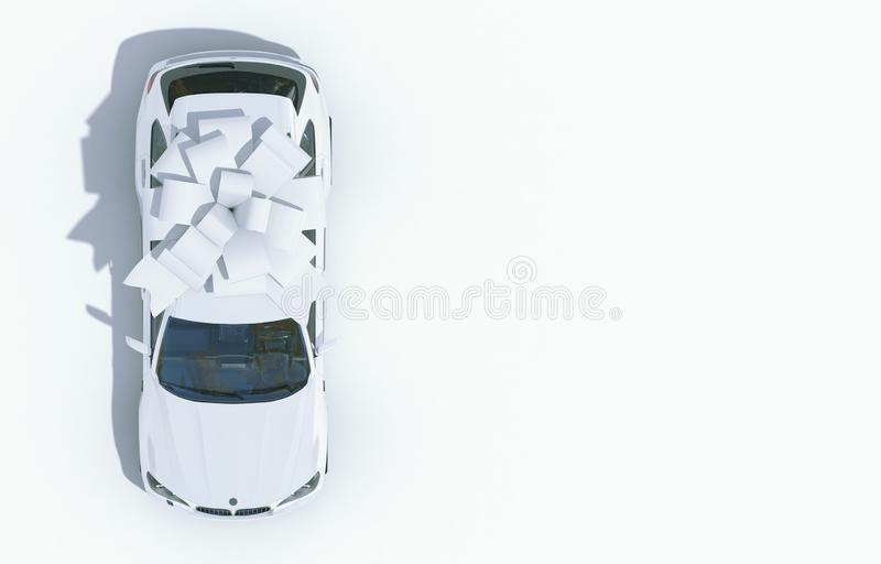 White car wrapped in a white ribbon bow on a white background. Expensive gift. Top view. 3D render with copy space. White car wrapped in a white ribbon bow on a royalty free illustration