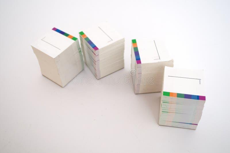 White card on a white background royalty free stock photo