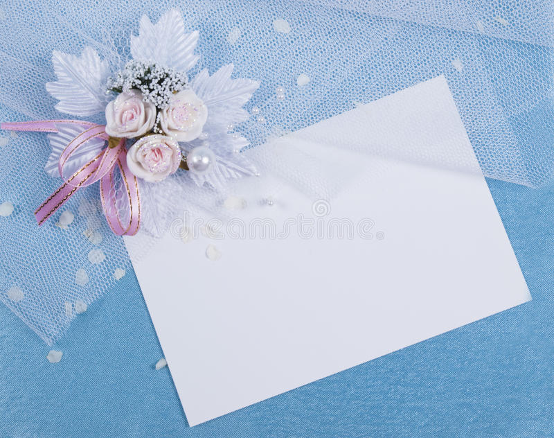 Download White Card For Congratulation On A  Blue Stock Photo - Image: 15475314