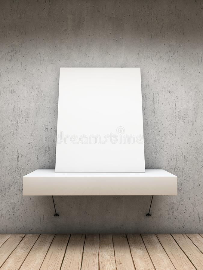 White card. White empty frame over a shelve stock illustration