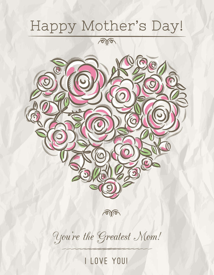 White card with heart of spring flowers for Mother's Day, vecto royalty free illustration