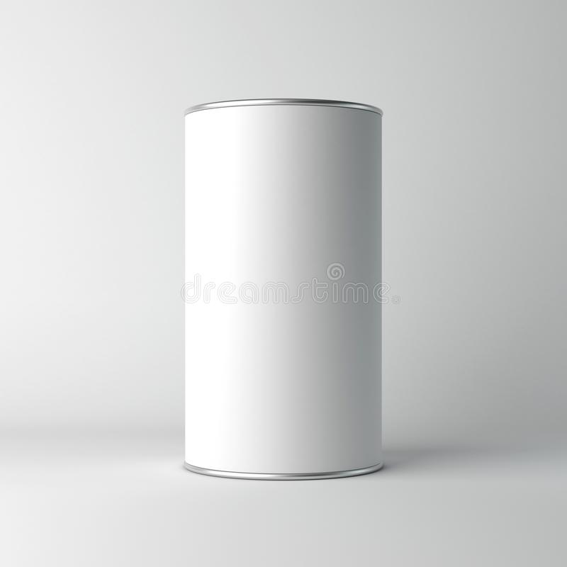 White cardboard Blank Tin can packaging mockup. Tea, coffee, dry products, gift box. 3d rendering vector illustration