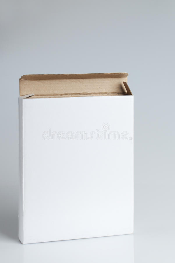 White cardboard box open isolated. White cardboard box closed isolated on gray background stock photography