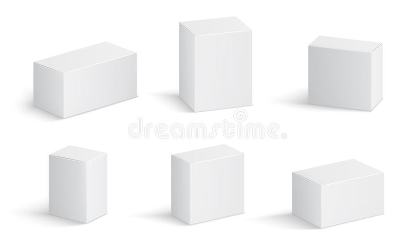 White cardboard boxes. Blank medicine package in different sizes. Medical product square box 3d vector isolated mockups. Container package, cardboard box vector illustration