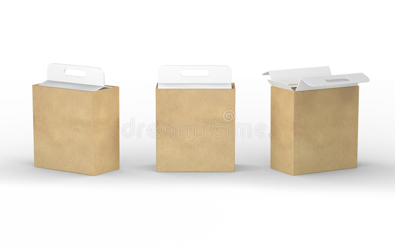 White cardboard and brown paper box packaging with handle, clipping path included royalty free illustration