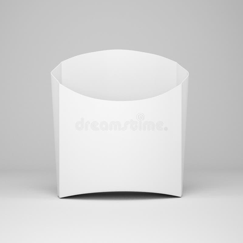 White cardboard packaging for french fries, mock up for design, 3d illustration, 3d render royalty free illustration
