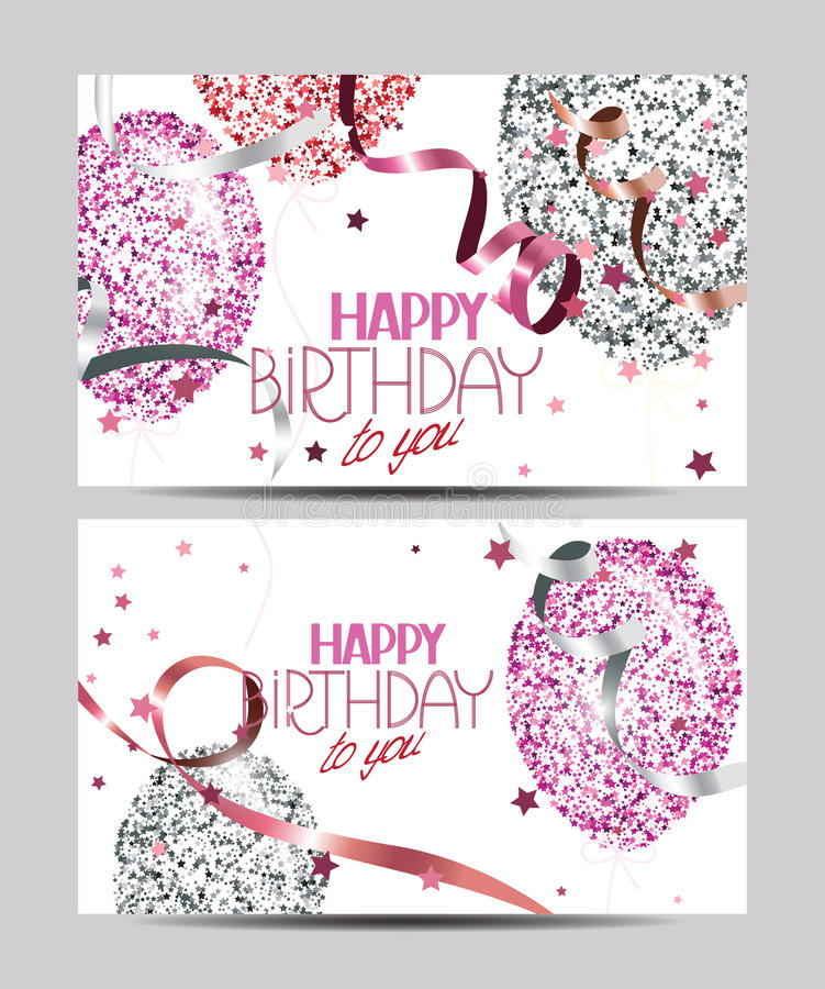 White cards with abstract colorful air balloons with stars, ticker tapes and Happy Birthday wishes. Vector white cards with abstract colorful air balloons with vector illustration