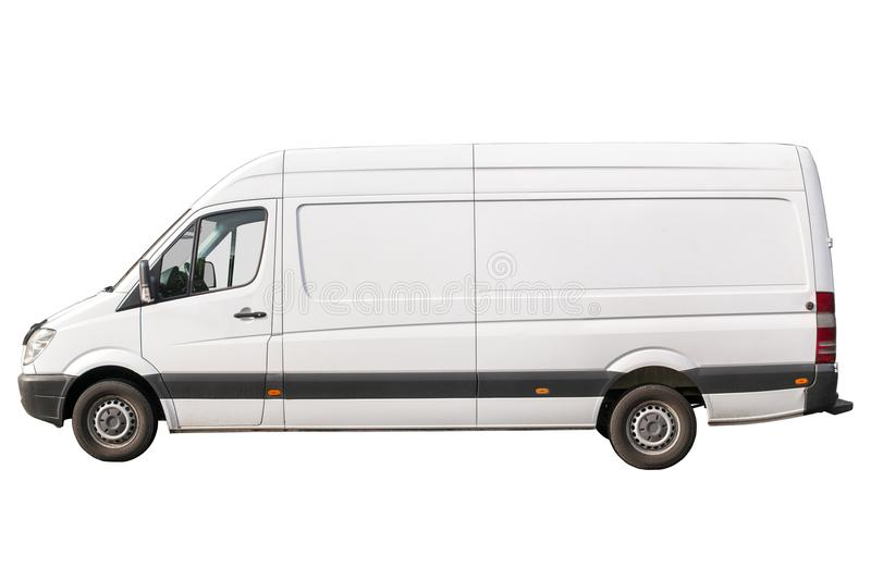 White cargo van isolated left royalty free stock images