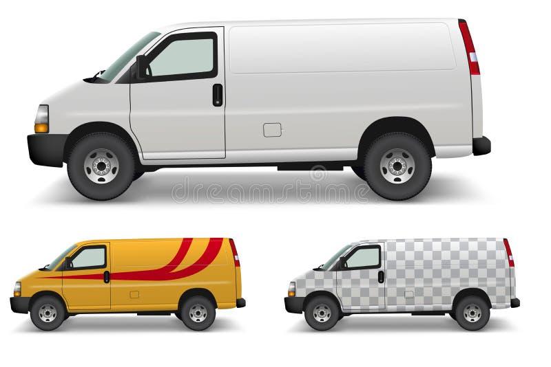 White Cargo Van Side Design Mockup vector illustration