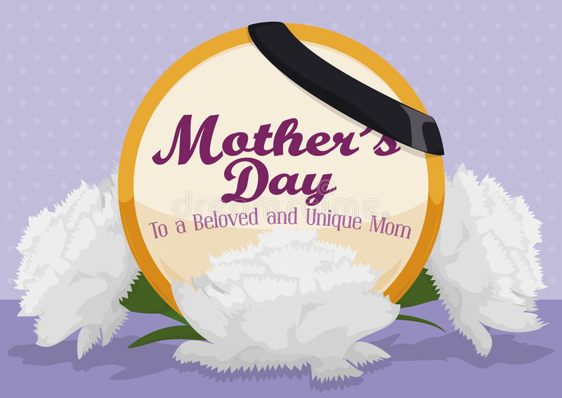 White Carnations with a Commemorative Button of Deceased Mother, Vector Illustration. White carnations to remember a loved deceased mom in a Mother's Day stock illustration