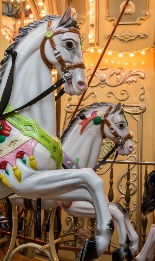 Free White Carousel Horses Royalty Free Stock Photo - 79120705