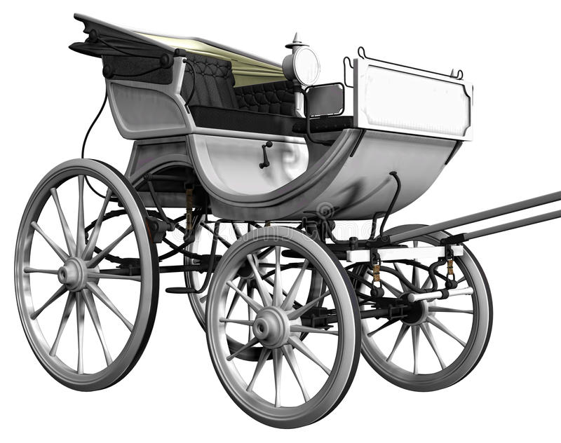 White carriage. 3D render of a white retro carriage vector illustration