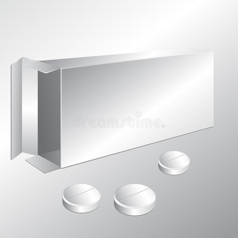 White carton box and pills stock illustration