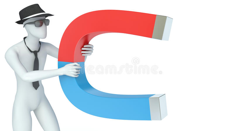 white cartoon character with big magnet stock illustration