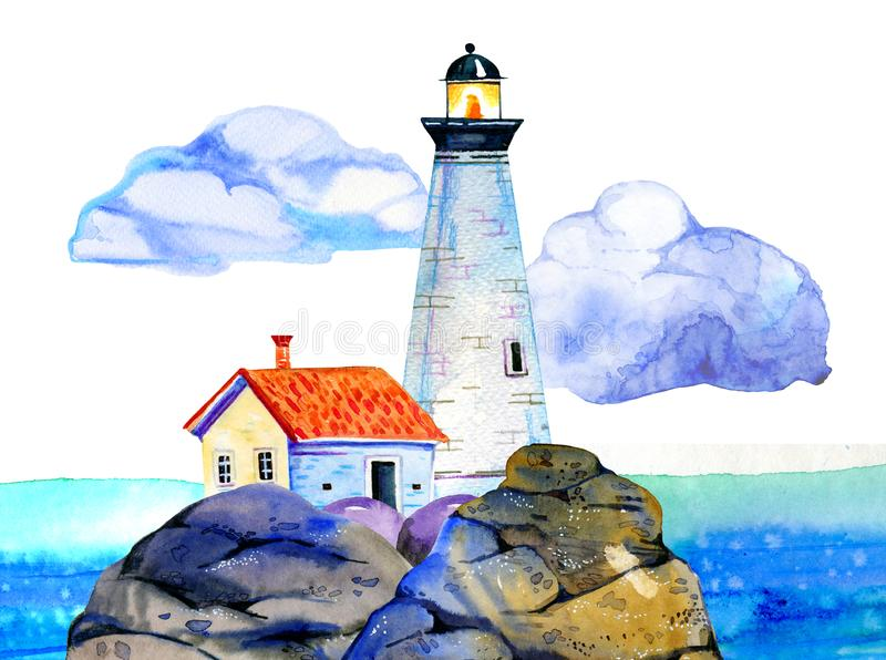 White cartoon lighthouse and small house on stone coast with ocean and clouds on the background stock photo