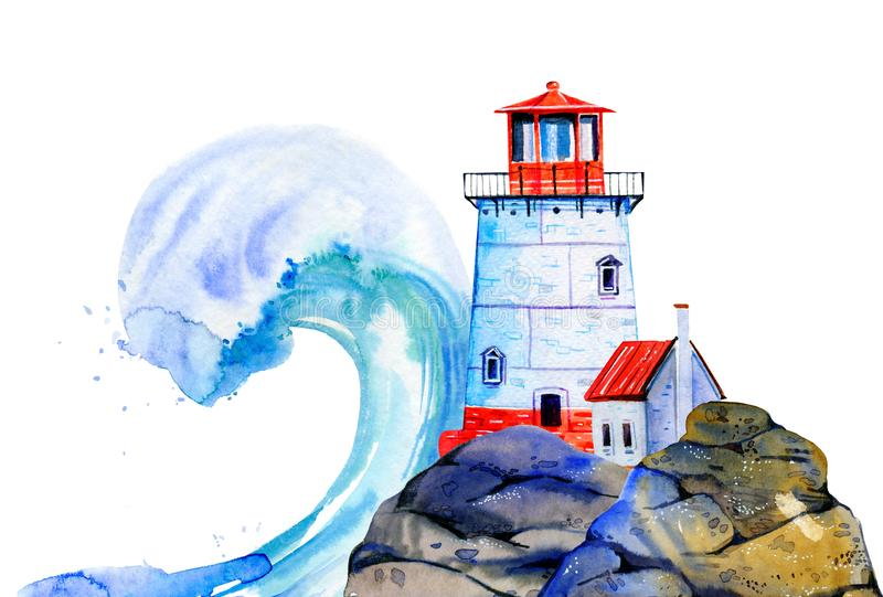 White cartoon lighthouse and small house on stone coast with wave on the background. Hand drawn watercolor illustration royalty free illustration