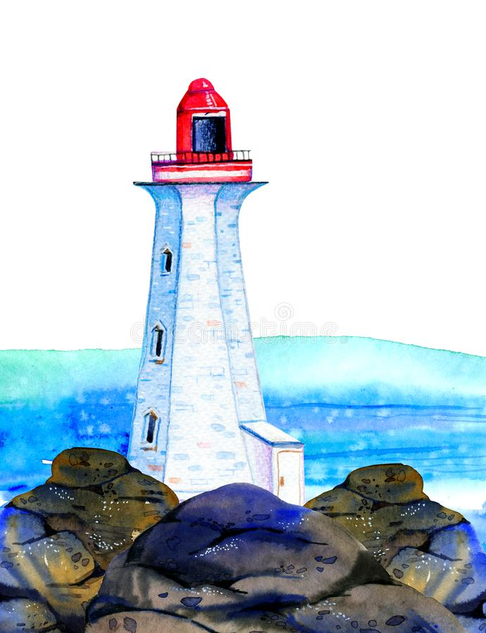 White cartoon lighthouse on stone coast with ocean on the background. Hand drawn watercolor illustration royalty free illustration