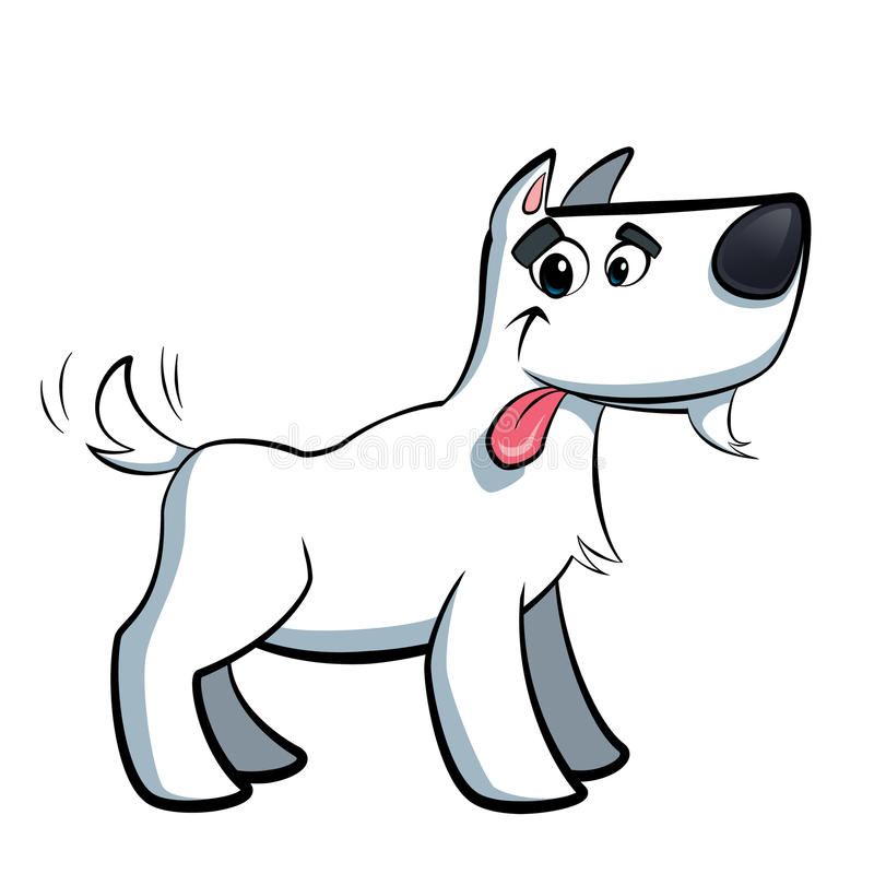 White cartoon terrier russell dog drooling. White cute terrier russell cartoon dog drooling sticking out its tongue royalty free illustration