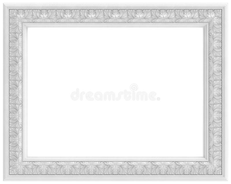 White Carved Frame For Picture Isolated On White Royalty Free Stock Photos