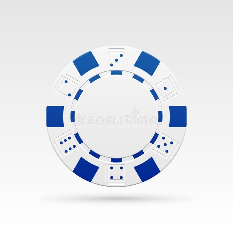 White casino chip. Detailed white casino chip. Vector illustration stock illustration