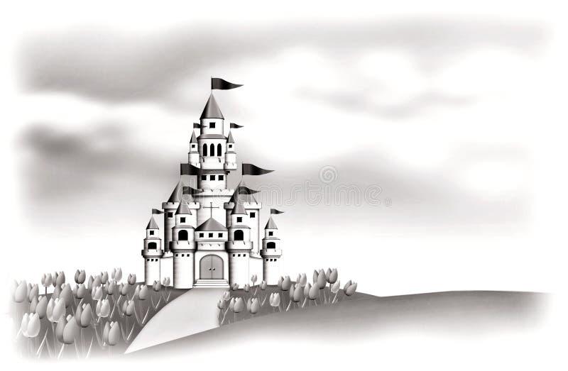 White Castle. In tulips garden stock illustration