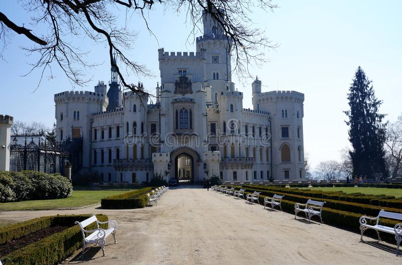 White castle. Beautiful white castle is standing in Hlubok Bohemia region Czech Republic royalty free stock photo