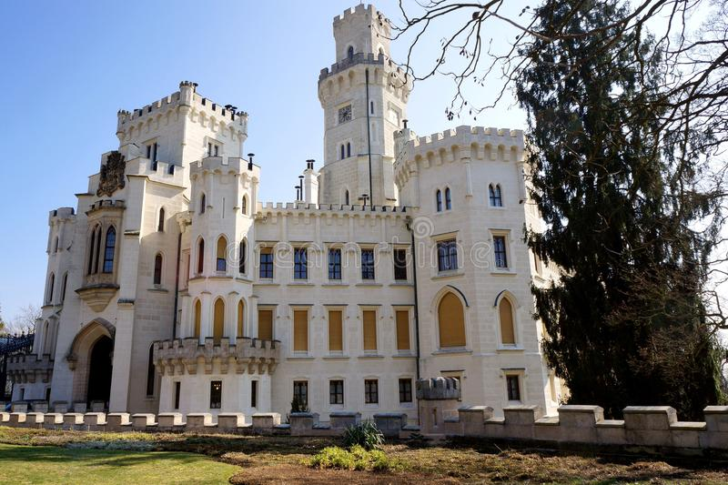 White castle. With garden around is situated in Hlubok, Czech Republic royalty free stock image