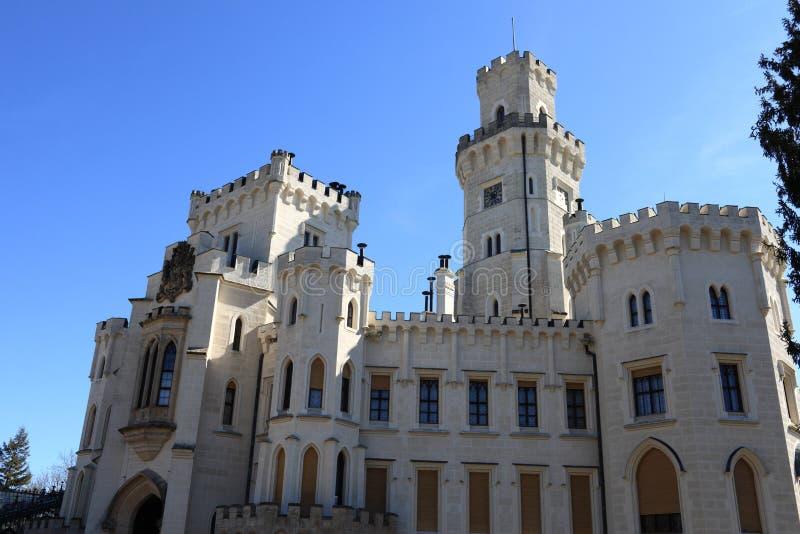 White castle at Hluboka nad Vltavou town. Czech republic stock photos