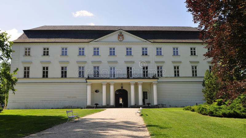 White castle in Hradec nad Moravici. Beautiful White castle Hradec nad Moravici in nothern part of Czech republic royalty free stock photo