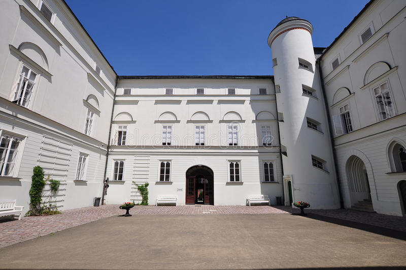White castle in Hradec nad Moravici. Beautiful White castle Hradec nad Moravici in nothern part of Czech republic stock photos