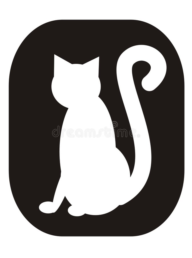 White cat. Standing on a black background, interesting for a logo or symbol stock illustration