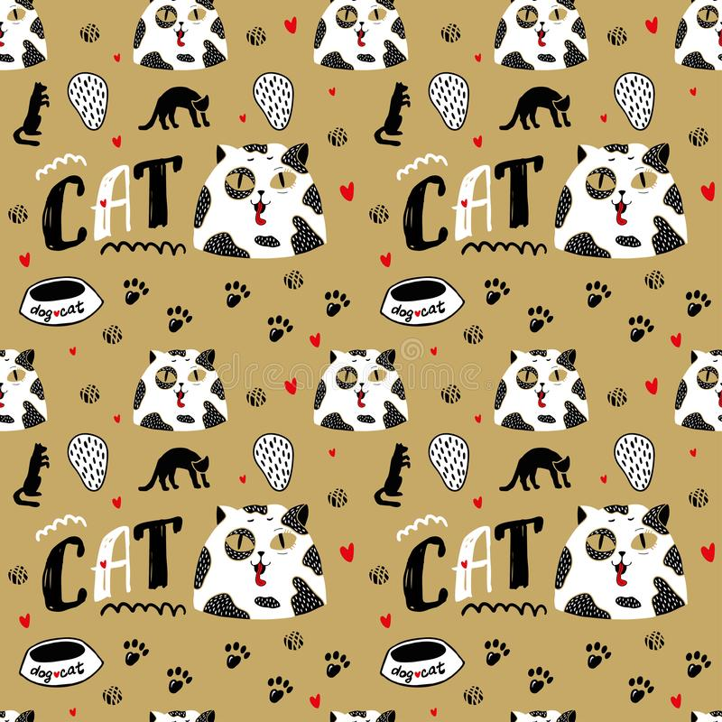 White cat with black spots and big eyes. Seamless pattern with cat portrait stock illustration