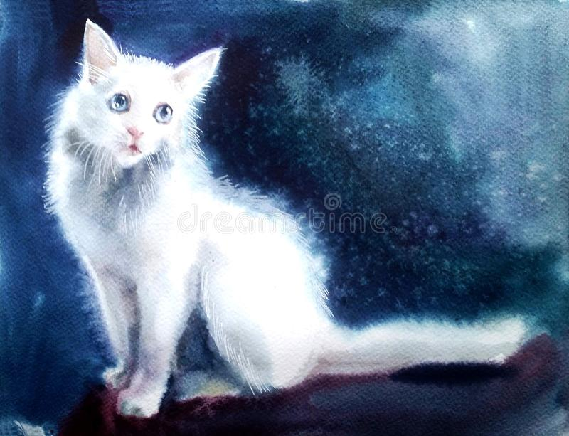 White cat on a blue background royalty free illustration