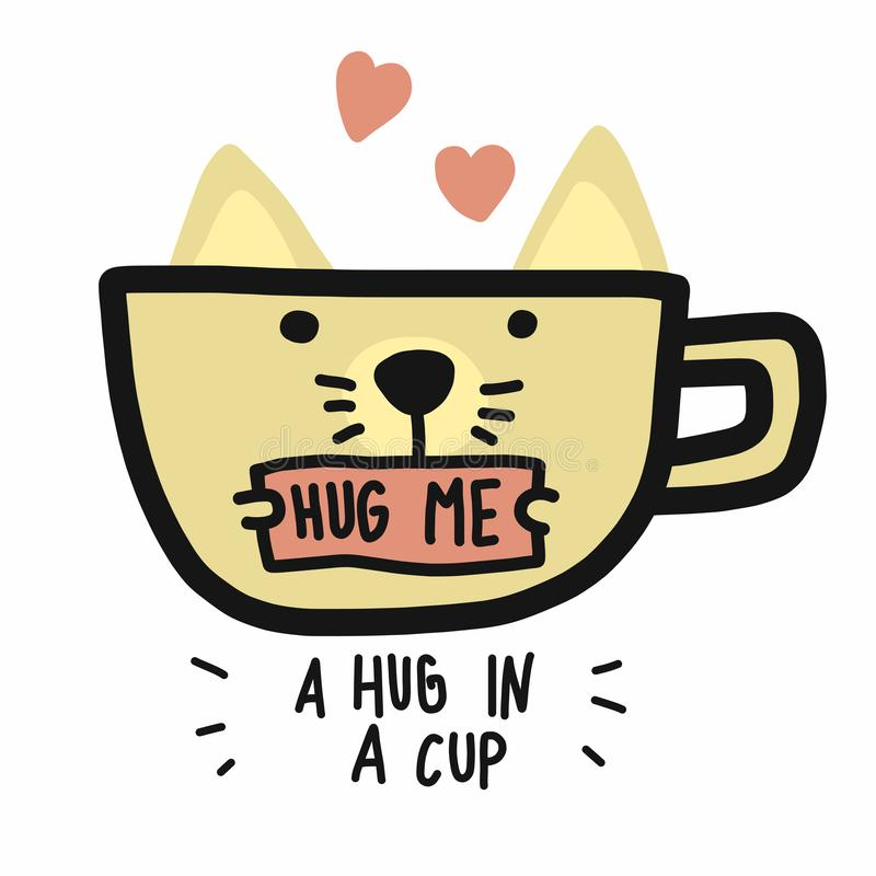 White cat cup and a hug in a cup word cartoon vector illustration doodle style royalty free illustration