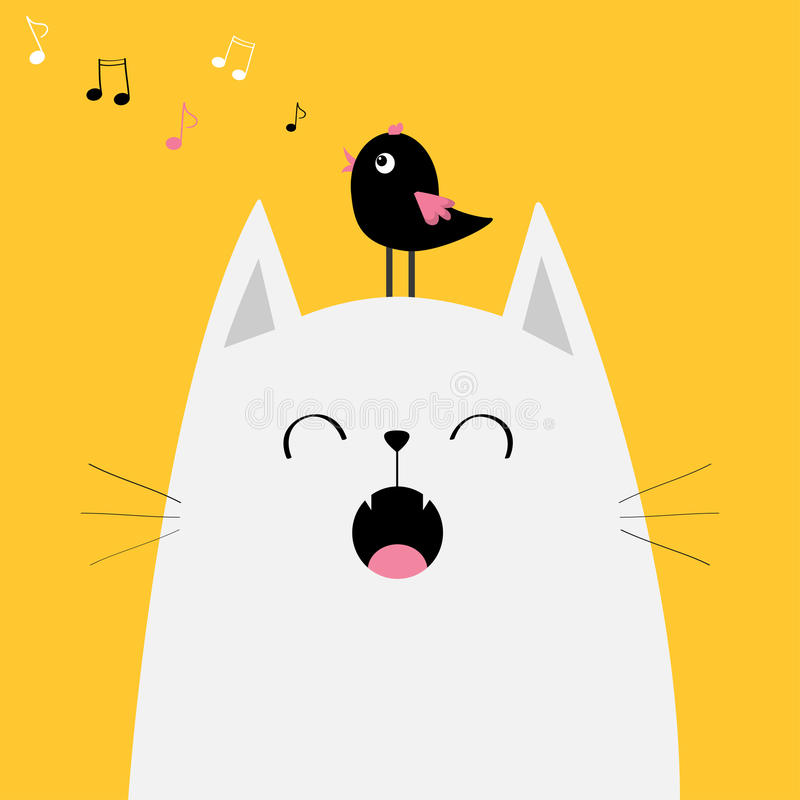 White cat face silhouette Bird on head. Meowing singing song. Music note flying. Cute cartoon funny character. Kawaii animal. Baby. Card. Pet collection. Flat stock illustration