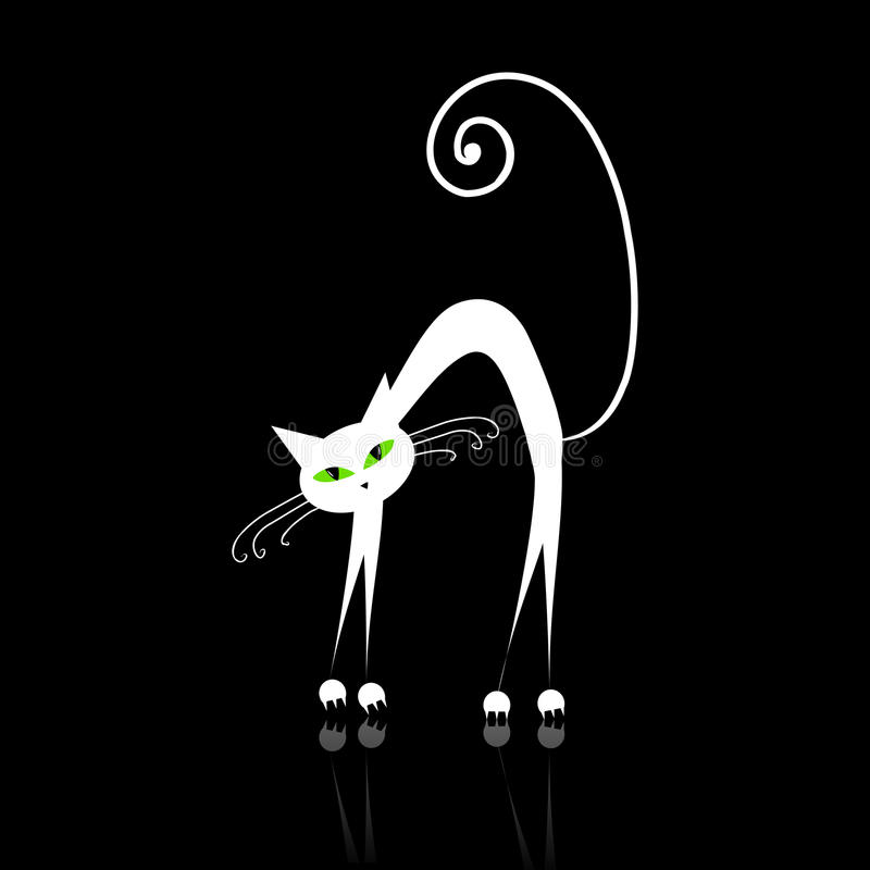 White cat with green eyes on black royalty free stock photography
