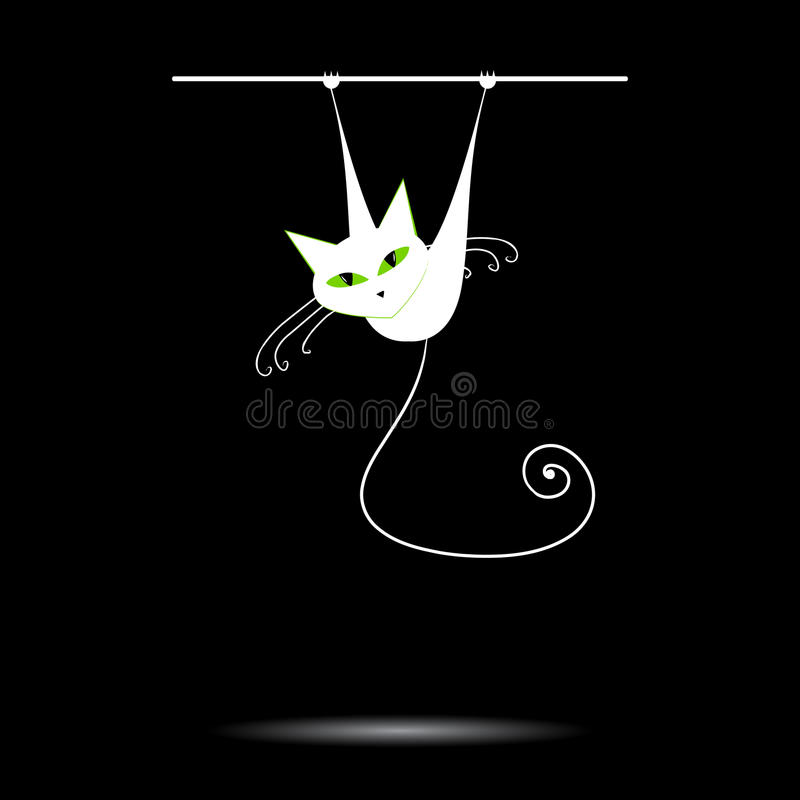 White cat with green eyes on black stock photos