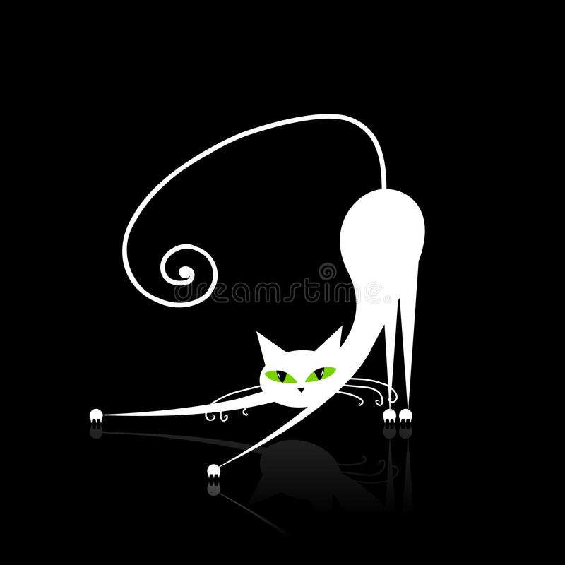 White cat with green eyes on black stock photography