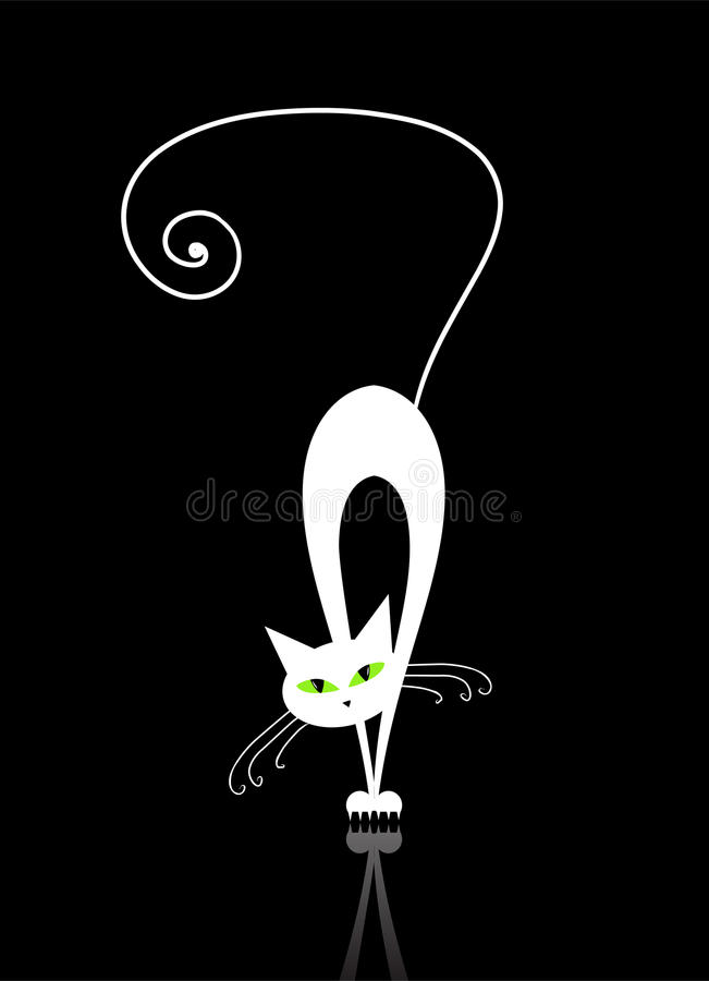 White cat with green eyes silhouette on black royalty free stock image