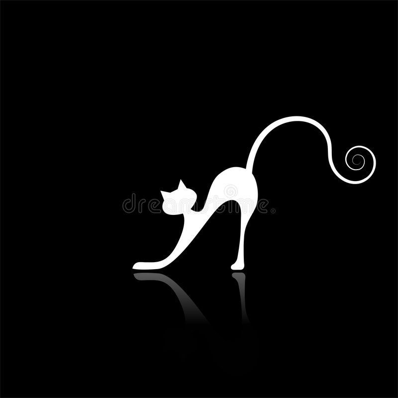 White cat silhouette for your design stock photography