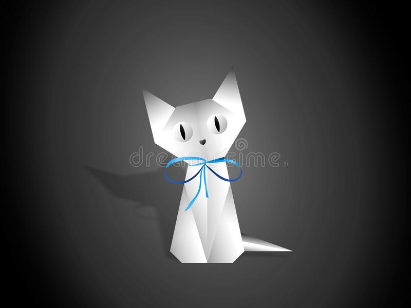White cat paper origami on white background. White cat vector of triangles paper and cardboard. Art of design, geometry and origami. Can be used as an stock illustration